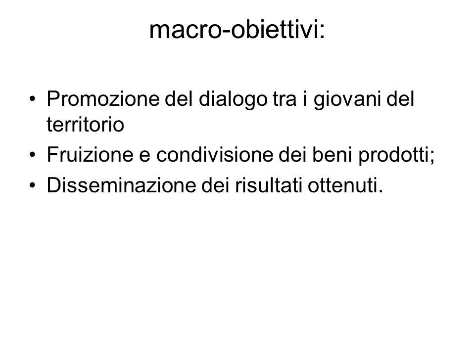 macro-obiettivi: Promozione del dialogo tra i giovani del territorio Fruizione e condivisione dei beni prodotti; Disseminazione dei risultati ottenuti.