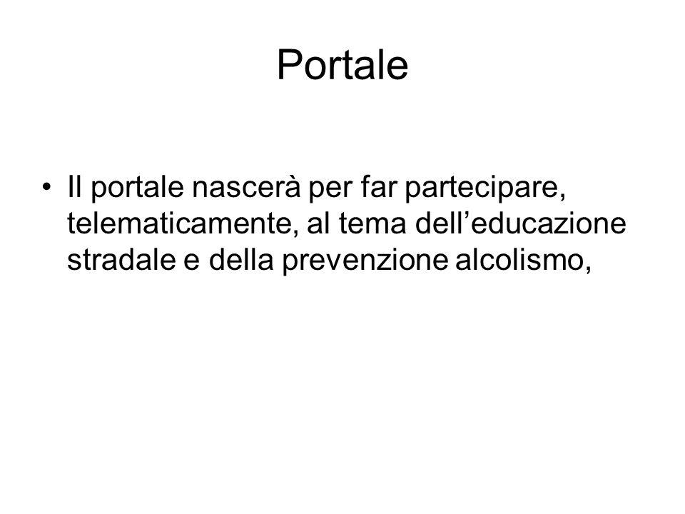 Portale Il portale nascerà per far partecipare, telematicamente, al tema delleducazione stradale e della prevenzione alcolismo,