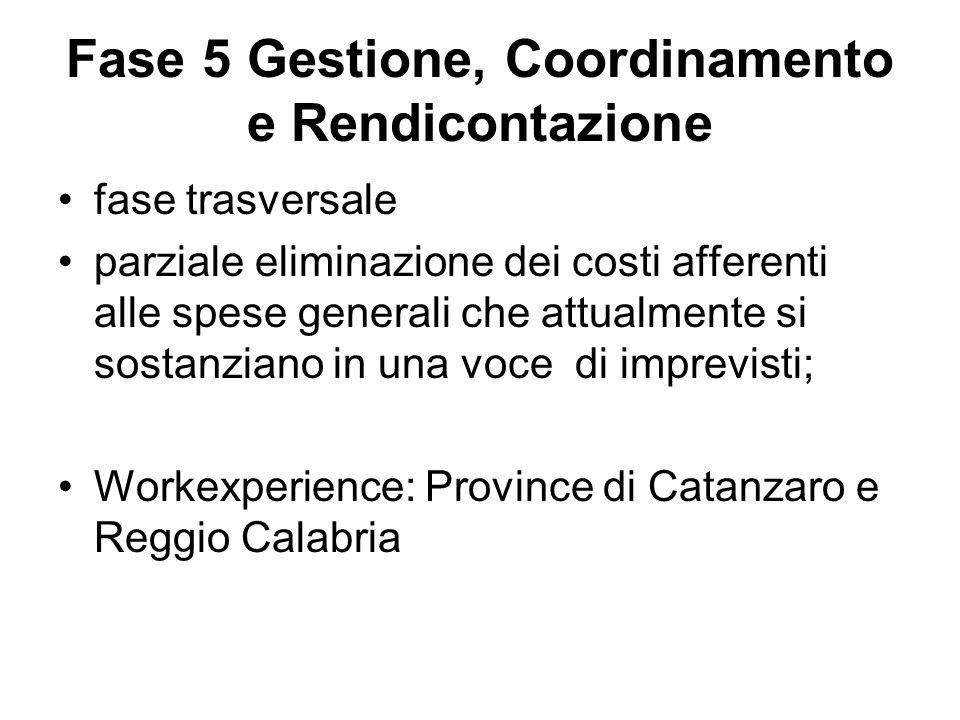 Fase 5 Gestione, Coordinamento e Rendicontazione fase trasversale parziale eliminazione dei costi afferenti alle spese generali che attualmente si sostanziano in una voce di imprevisti; Workexperience: Province di Catanzaro e Reggio Calabria
