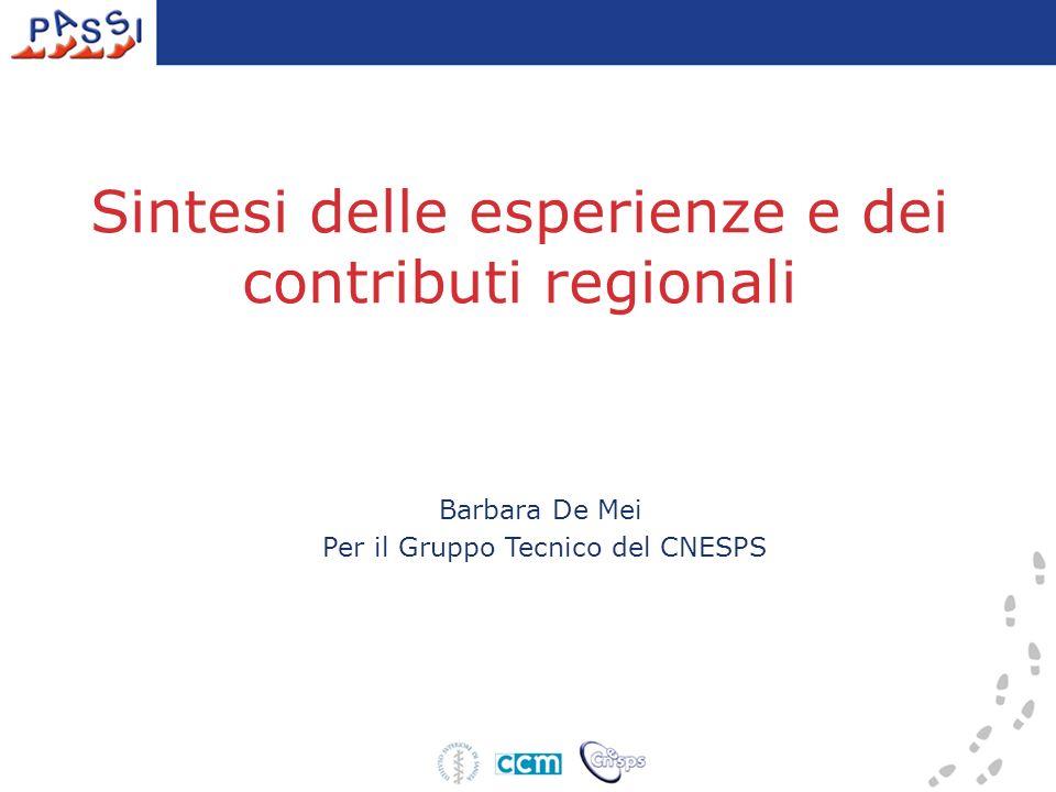 Sintesi delle esperienze e dei contributi regionali Barbara De Mei Per il Gruppo Tecnico del CNESPS