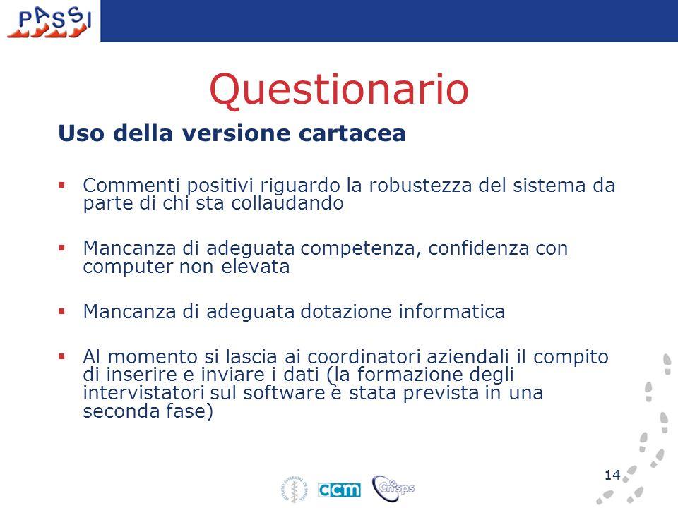 14 Questionario Uso della versione cartacea Commenti positivi riguardo la robustezza del sistema da parte di chi sta collaudando Mancanza di adeguata
