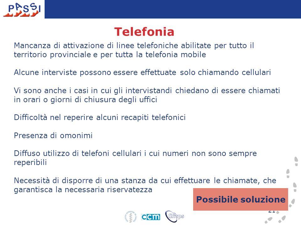 21 Telefonia Mancanza di attivazione di linee telefoniche abilitate per tutto il territorio provinciale e per tutta la telefonia mobile Alcune intervi