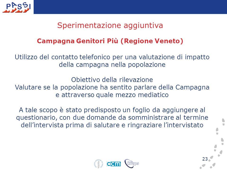 23 Utilizzo del contatto telefonico per una valutazione di impatto della campagna nella popolazione Obiettivo della rilevazione Valutare se la popolaz