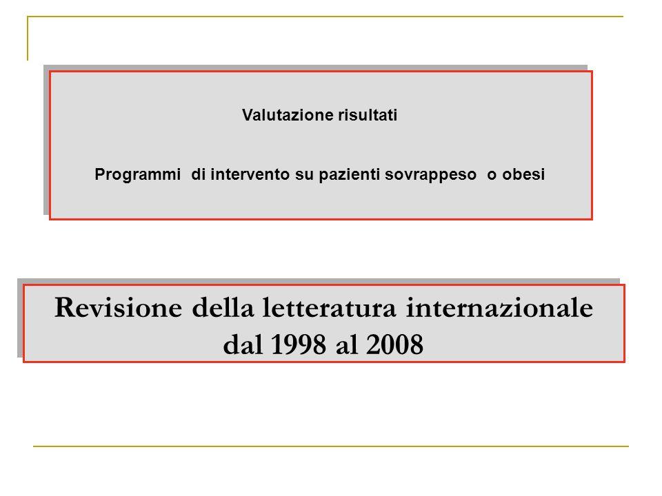 Revisione della letteratura internazionale dal 1998 al 2008 Valutazione risultati Programmi di intervento su pazienti sovrappeso o obesi Valutazione r