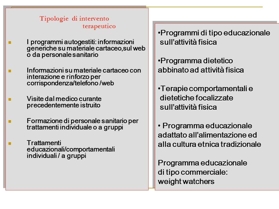 Tipologie di intervento terapeutico I programmi autogestiti: informazioni generiche su materiale cartaceo,sul web o da personale sanitario Informazion
