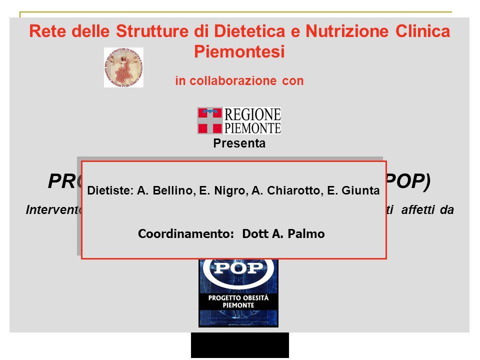 Rete delle Strutture di Dietetica e Nutrizione Clinica Piemontesi in collaborazione con Presenta PROGETTO OBESITA PIEMONTE (POP) Intervento di tipo in