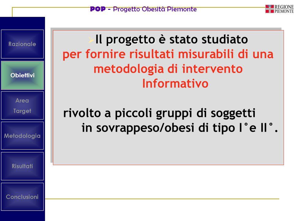 POP - Progetto Obesità Piemonte Obiettivi Area Target Risultati Conclusioni Metodologia Razionale progetto Il progetto è stato studiato per fornire ri