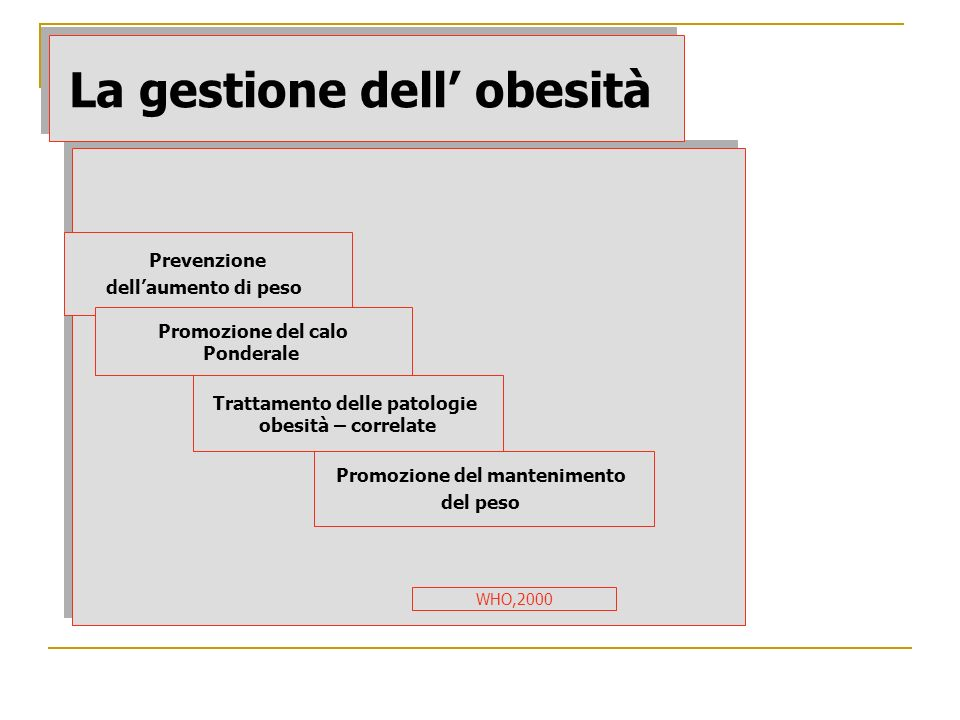 La gestione dell obesità Prevenzione dellaumento di peso Promozione del mantenimento del peso Trattamento delle patologie obesità – correlate Promozio