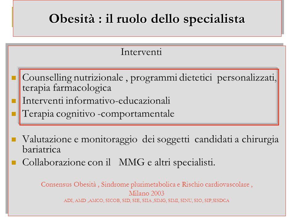 Obesità : il ruolo dello specialista Interventi Counselling nutrizionale, programmi dietetici personalizzati, terapia farmacologica Interventi informa