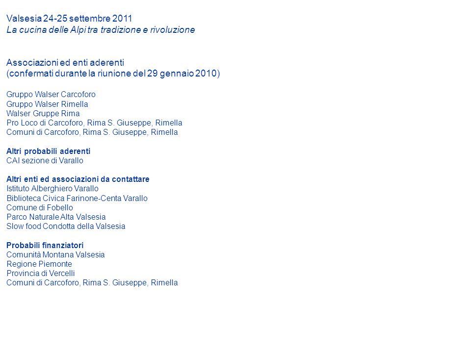 Valsesia 24-25 settembre 2011 La cucina delle Alpi tra tradizione e rivoluzione Associazioni ed enti aderenti (confermati durante la riunione del 29 g