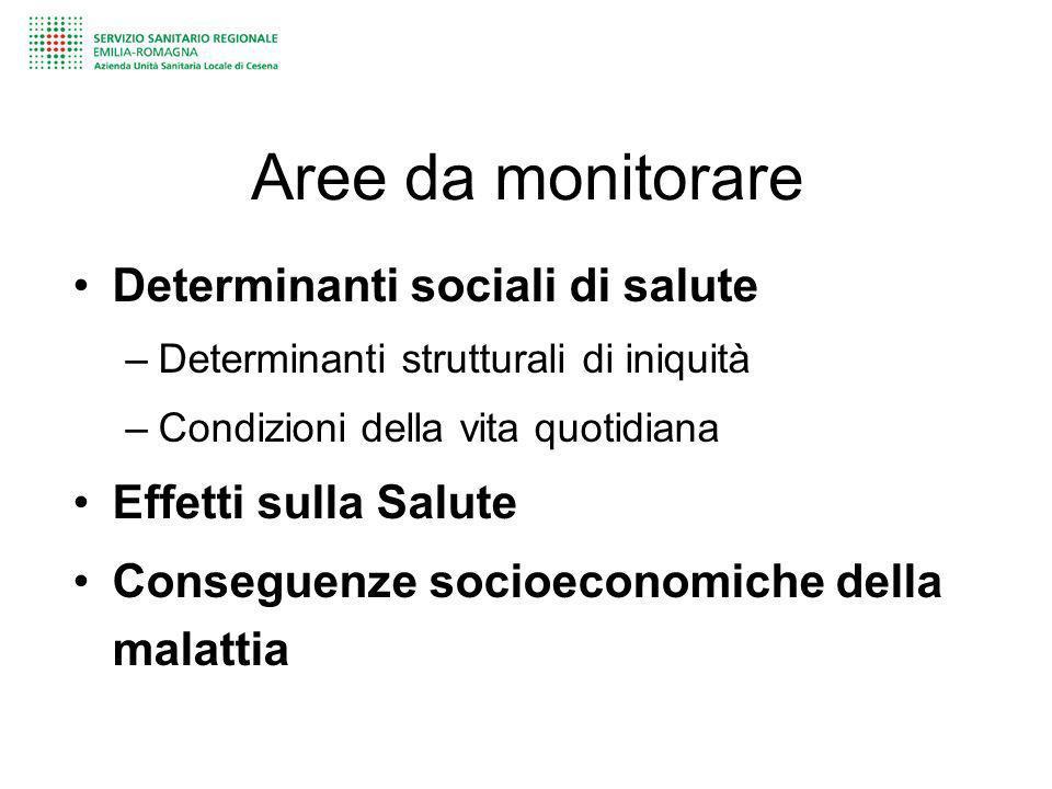 Aree da monitorare Determinanti sociali di salute –Determinanti strutturali di iniquità –Condizioni della vita quotidiana Effetti sulla Salute Consegu