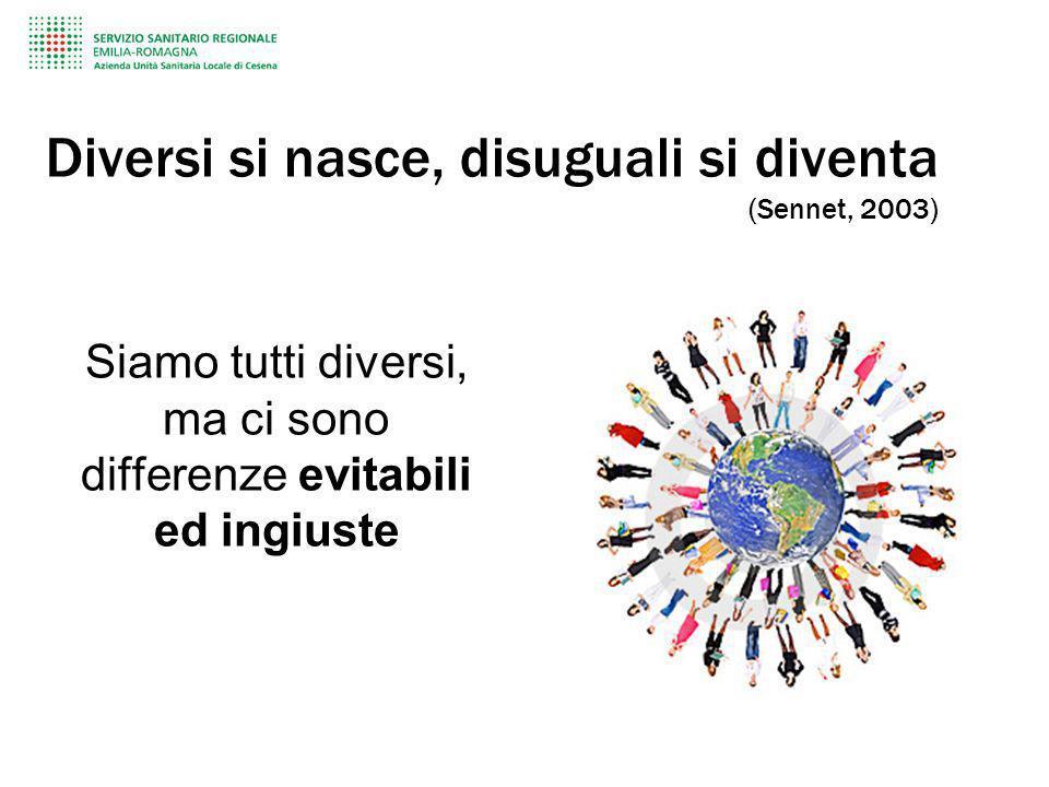 Diversi si nasce, disuguali si diventa (Sennet, 2003) Siamo tutti diversi, ma ci sono differenze evitabili ed ingiuste