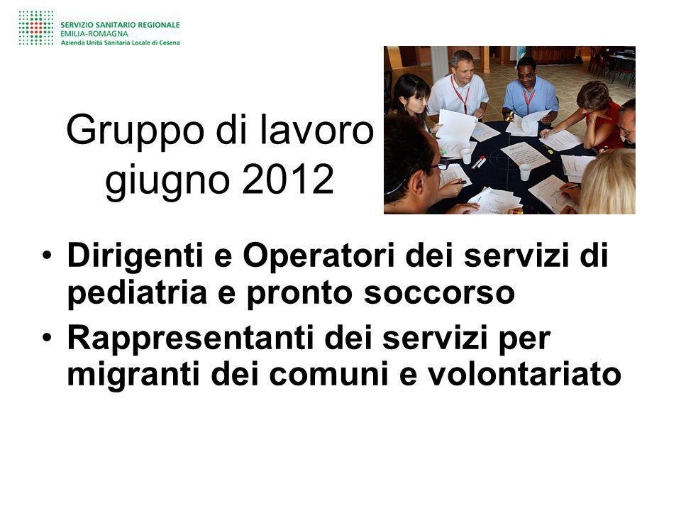 Gruppo di lavoro giugno 2012 Dirigenti e Operatori dei servizi di pediatria e pronto soccorso Rappresentanti dei servizi per migranti dei comuni e vol