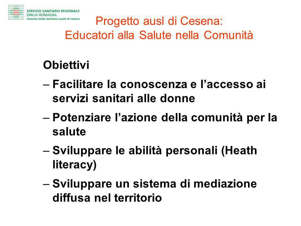 Progetto ausl di Cesena: Educatori alla Salute nella Comunità Obiettivi –Facilitare la conoscenza e laccesso ai servizi sanitari alle donne –Potenziar