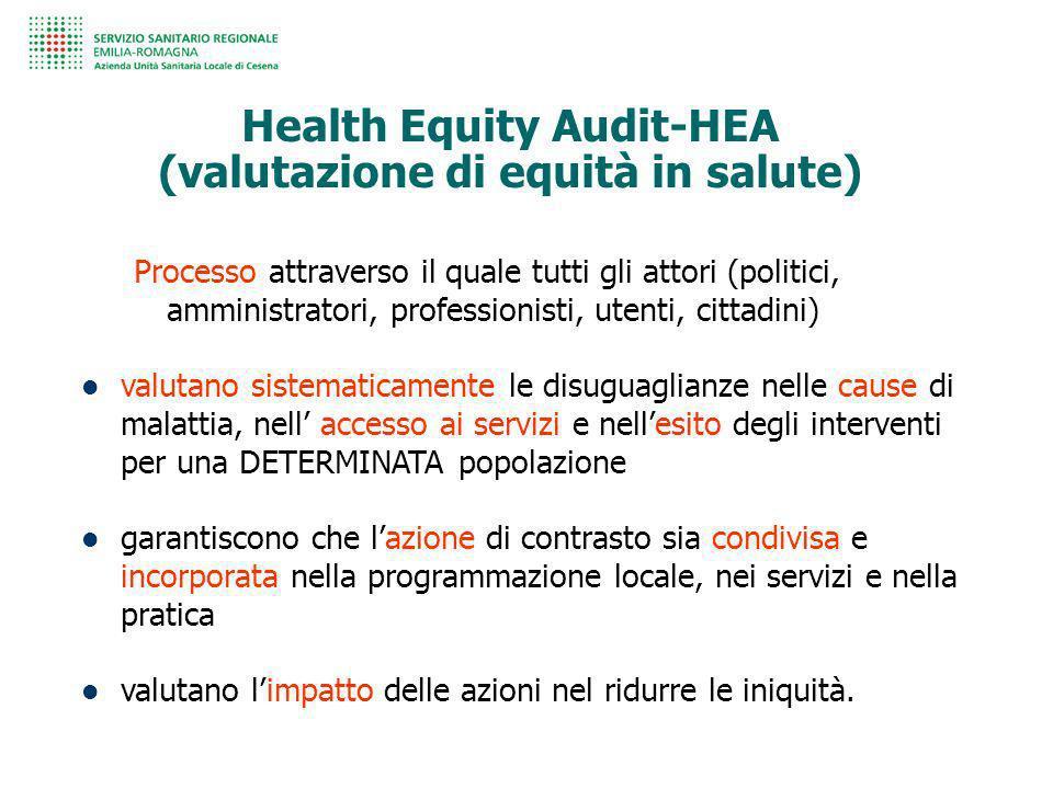 Health Equity Audit-HEA (valutazione di equità in salute) Processo attraverso il quale tutti gli attori (politici, amministratori, professionisti, ute