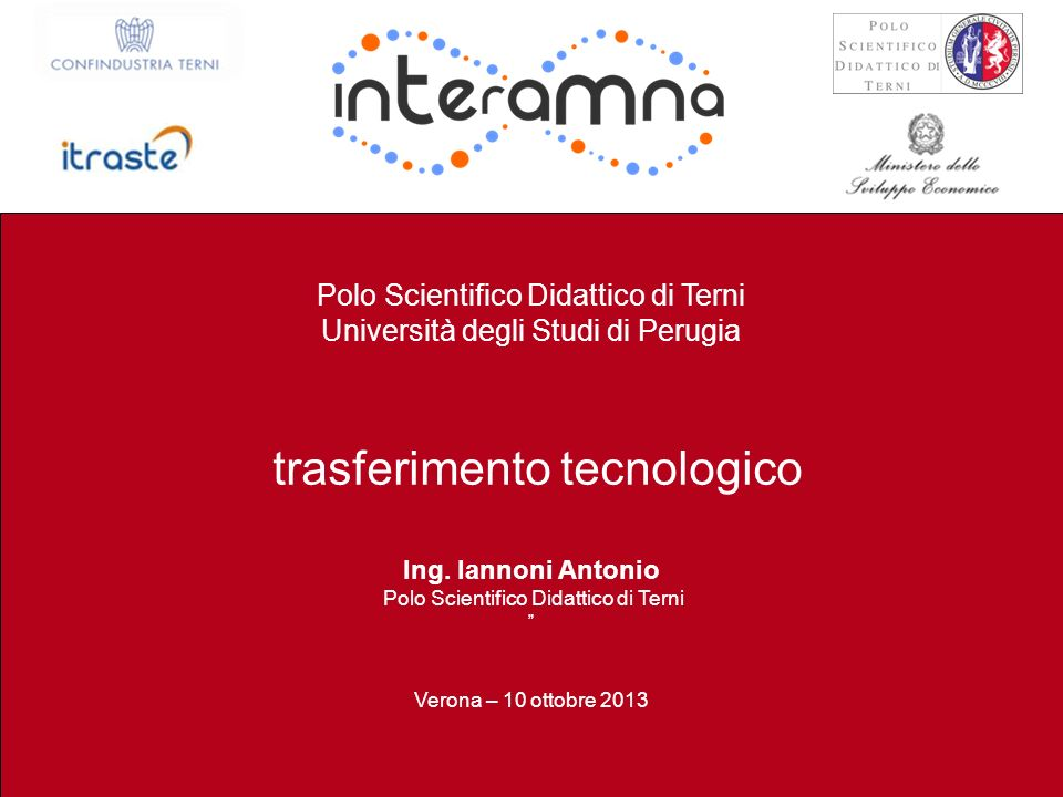 P. Burrascano Terni, 25 Luglio 2013 / 30 Polo Scientifico Didattico di Terni Università degli Studi di Perugia trasferimento tecnologico Ing. Iannoni