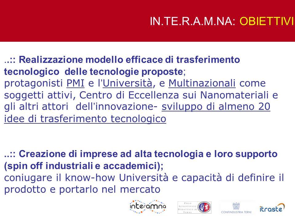 ..:: Realizzazione modello efficace di trasferimento tecnologico delle tecnologie proposte; protagonisti PMI e l Università, e Multinazionali come sog