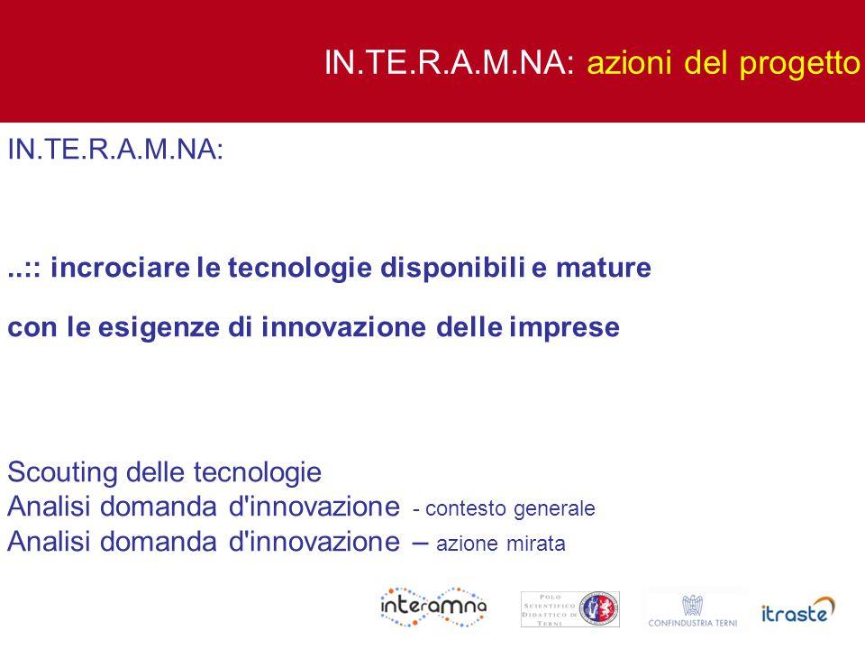 IN.TE.R.A.M.NA:..:: incrociare le tecnologie disponibili e mature con le esigenze di innovazione delle imprese Scouting delle tecnologie Analisi doman