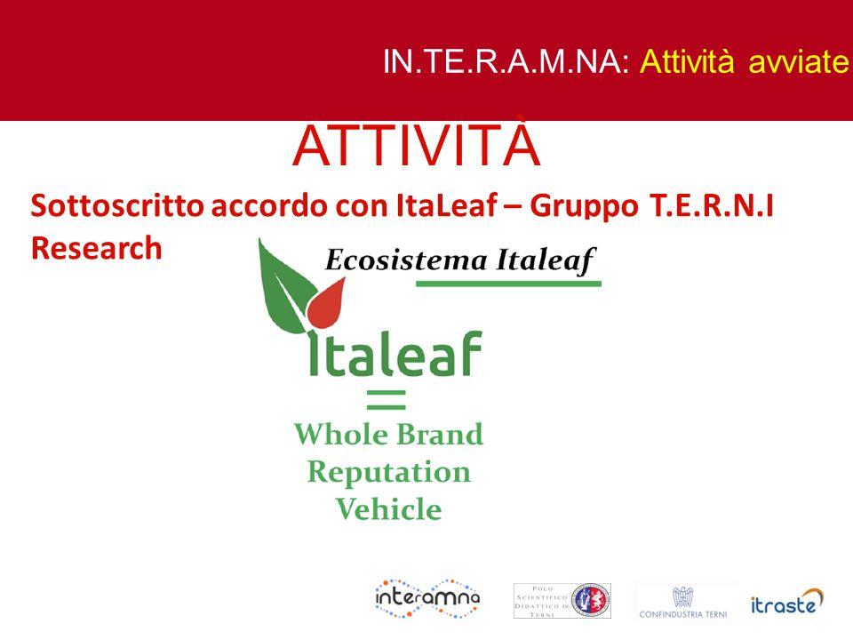 ATTIVITÀ Sottoscritto accordo con ItaLeaf – Gruppo T.E.R.N.I Research
