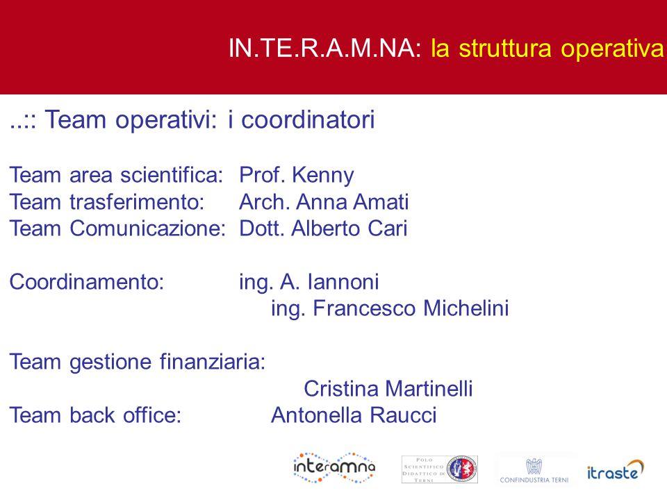 ..:: Team operativi: i coordinatori Team area scientifica: Prof. Kenny Team trasferimento: Arch. Anna Amati Team Comunicazione: Dott. Alberto Cari Coo