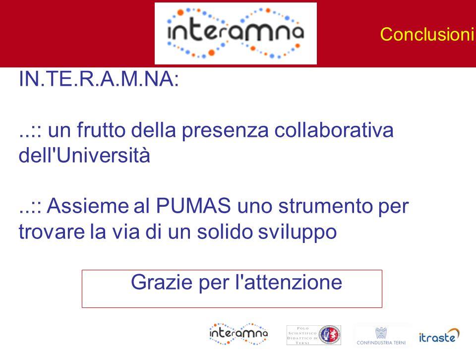 IN.TE.R.A.M.NA:..:: un frutto della presenza collaborativa dell'Università..:: Assieme al PUMAS uno strumento per trovare la via di un solido sviluppo