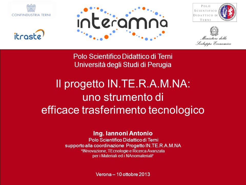 P. Burrascano Terni, 25 Luglio 2013 / 30 Polo Scientifico Didattico di Terni Università degli Studi di Perugia Il progetto IN.TE.R.A.M.NA: uno strumen