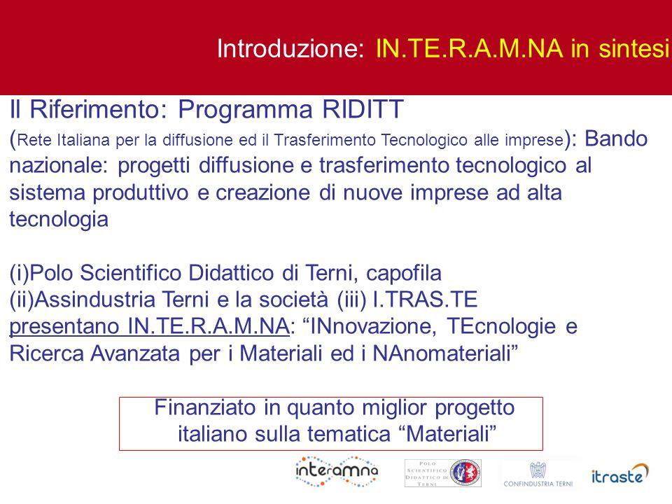 Il Riferimento: Programma RIDITT ( Rete Italiana per la diffusione ed il Trasferimento Tecnologico alle imprese ): Bando nazionale: progetti diffusion