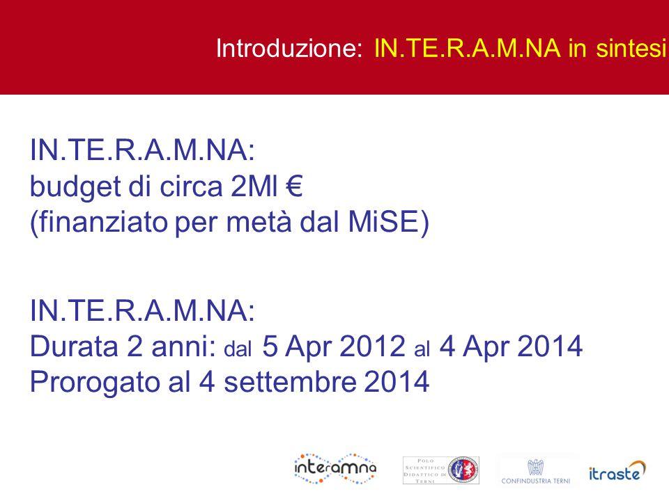 IN.TE.R.A.M.NA: budget di circa 2Ml (finanziato per metà dal MiSE) IN.TE.R.A.M.NA: Durata 2 anni: dal 5 Apr 2012 al 4 Apr 2014 Prorogato al 4 settembr