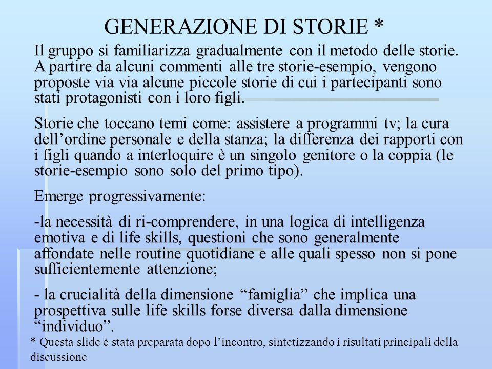 GENERAZIONE DI STORIE * Il gruppo si familiarizza gradualmente con il metodo delle storie. A partire da alcuni commenti alle tre storie-esempio, vengo