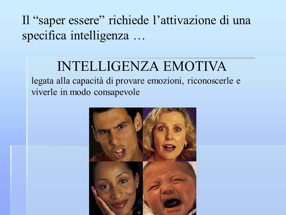 Il saper essere richiede lattivazione di una specifica intelligenza … INTELLIGENZA EMOTIVA legata alla capacità di provare emozioni, riconoscerle e vi