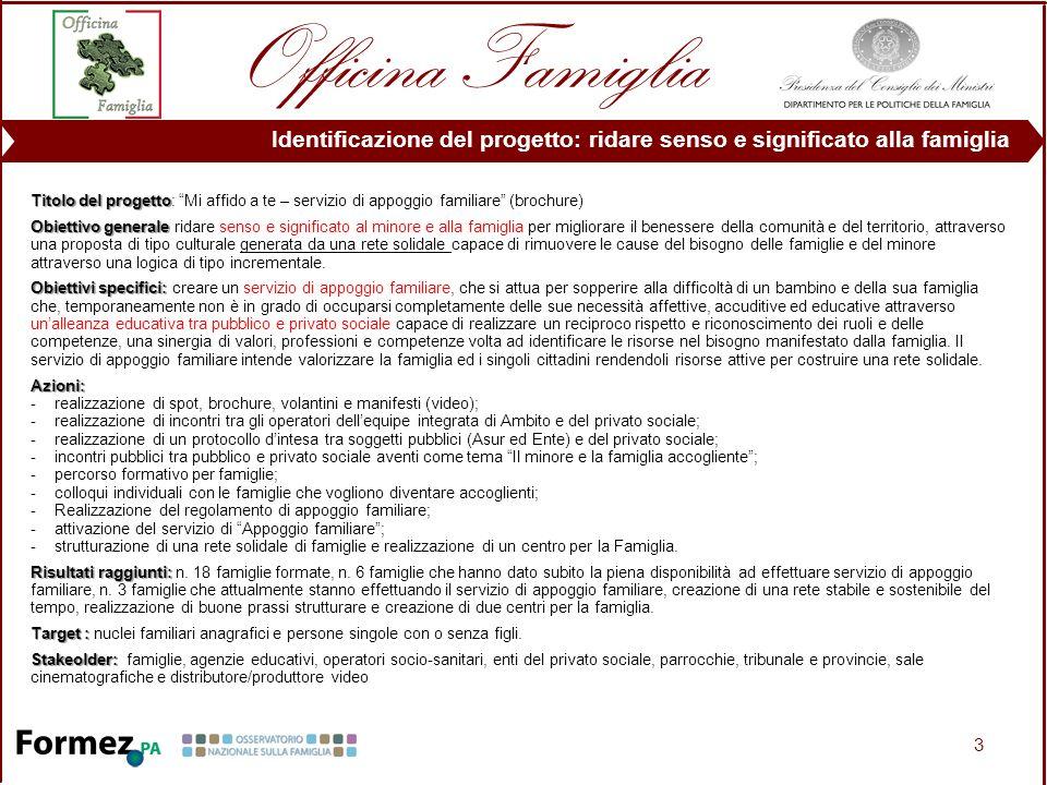 3 Titolo del progetto Titolo del progetto: Mi affido a te – servizio di appoggio familiare (brochure) Obiettivo generale Obiettivo generale ridare sen