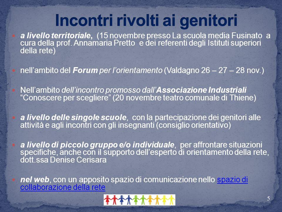 a livello territoriale, (15 novembre presso La scuola media Fusinato a cura della prof. Annamaria Pretto e dei referenti degli Istituti superiori dell