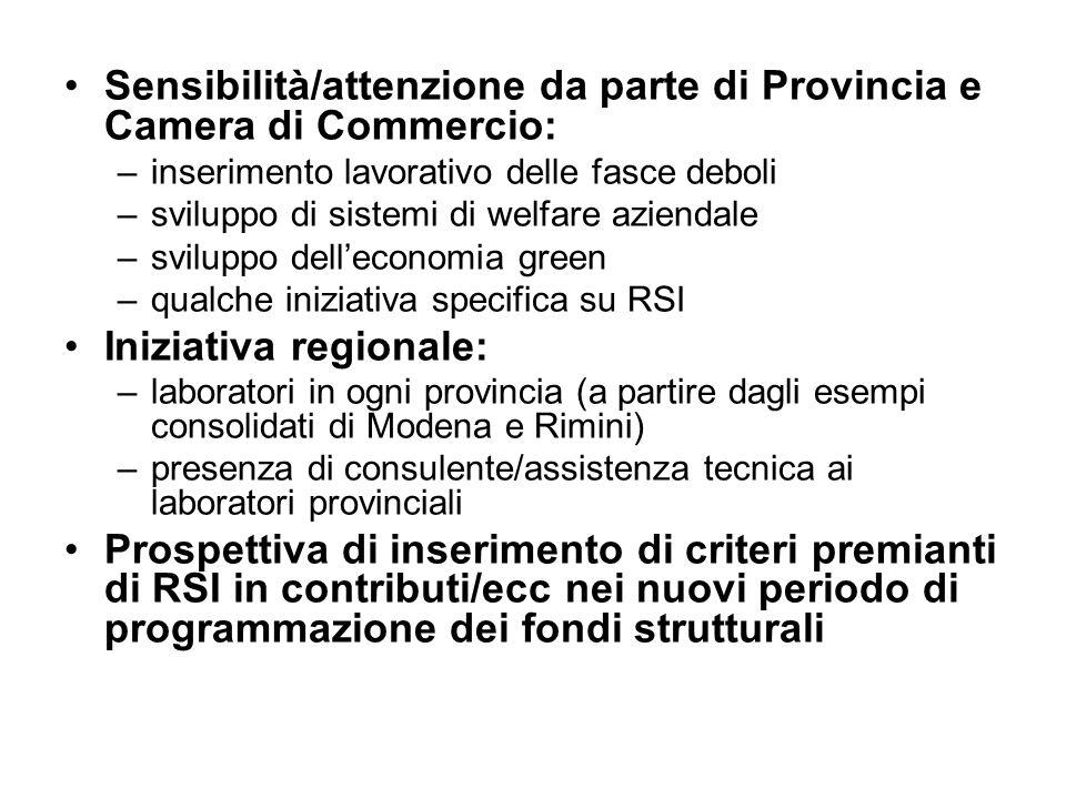 Sensibilità/attenzione da parte di Provincia e Camera di Commercio: –inserimento lavorativo delle fasce deboli –sviluppo di sistemi di welfare azienda