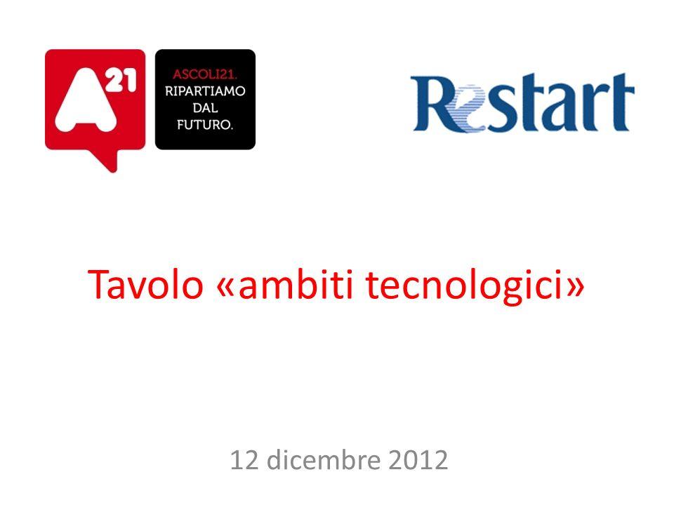 Tavolo «ambiti tecnologici» 12 dicembre 2012