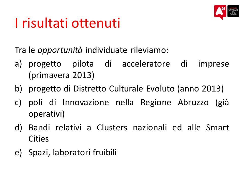 I risultati ottenuti Tra le opportunità individuate rileviamo: a)progetto pilota di acceleratore di imprese (primavera 2013) b)progetto di Distretto C