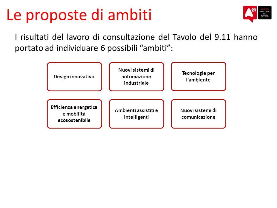 Le proposte di ambiti I risultati del lavoro di consultazione del Tavolo del 9.11 hanno portato ad individuare 6 possibili ambiti: Efficienza energeti