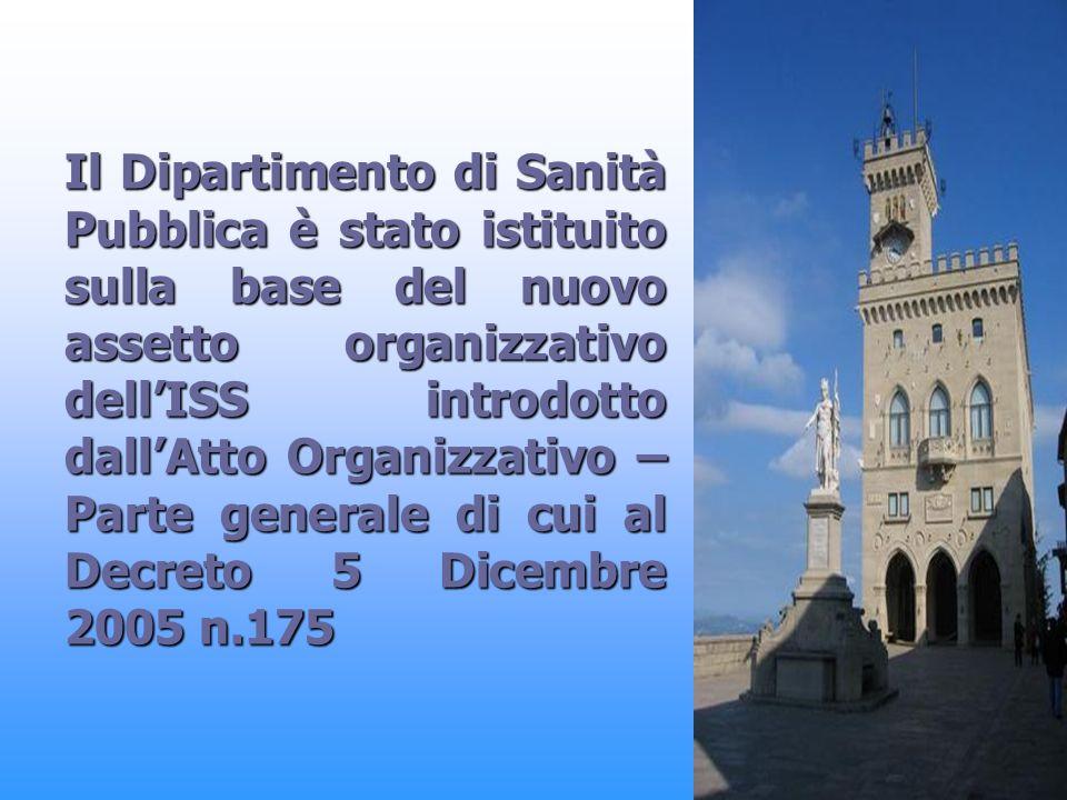 Il Dipartimento di Sanità Pubblica è stato istituito sulla base del nuovo assetto organizzativo dellISS introdotto dallAtto Organizzativo – Parte generale di cui al Decreto 5 Dicembre 2005 n.175