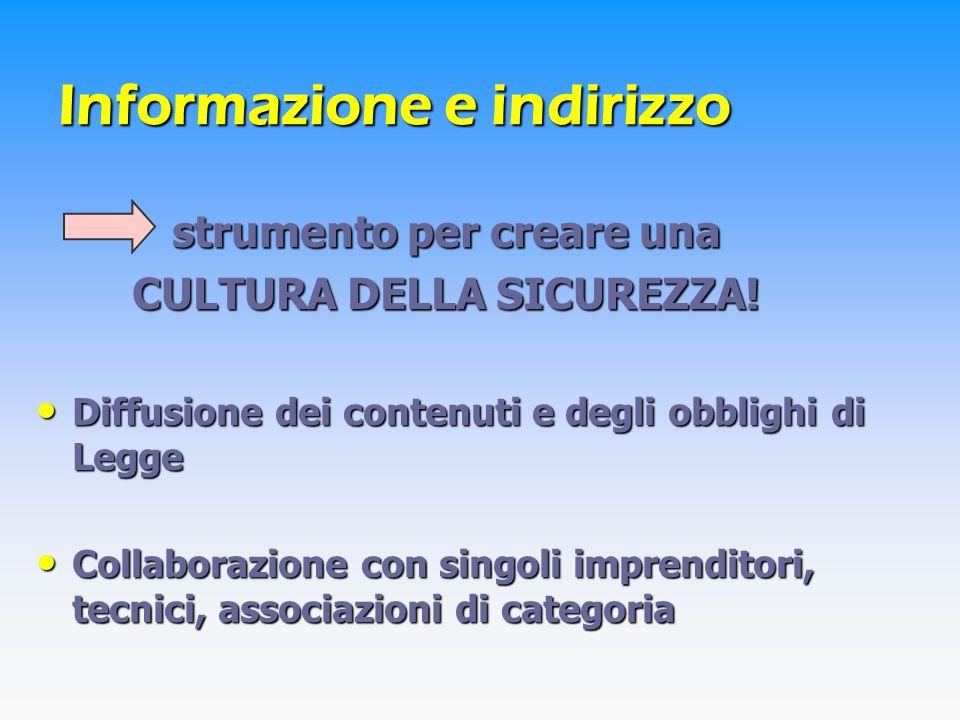Attività svolte ATTIVITA DI INFORMAZIONE-INDIRIZZO NELLE GRANDI IMPRESE (1999) ATTIVITA DI INFORMAZIONE-INDIRIZZO NELLE GRANDI IMPRESE (1999) Sono state coinvolte tutte le grandi imprese (34) e le Associazioni di categoria Si sono svolti incontri con i datori di lavoro per illustrare gli obiettivi della Legge, le funzioni degli Attori della Prevenzione, le funzioni del SIA E stata esaminata la documentazione prodotta dalle singole aziende e si sono svolti altri incontri con i datori di lavoro per spiegare loro una serie di carenze applicative A conclusione dellintervento è stata inviata a tutte le imprese una relazione ove sono state riportate indicazioni e suggerimenti per una più puntuale applicazione delle disposizioni di legge
