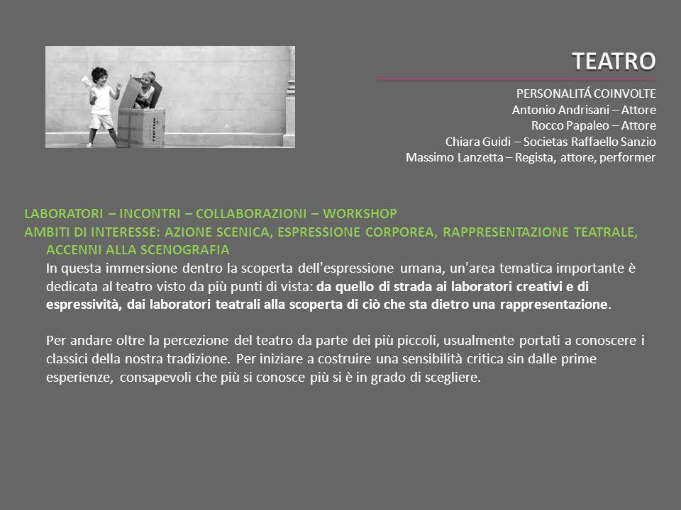 PERSONALITÁ COINVOLTE Antonio Andrisani – Attore Rocco Papaleo – Attore Chiara Guidi – Societas Raffaello Sanzio Massimo Lanzetta – Regista, attore, p