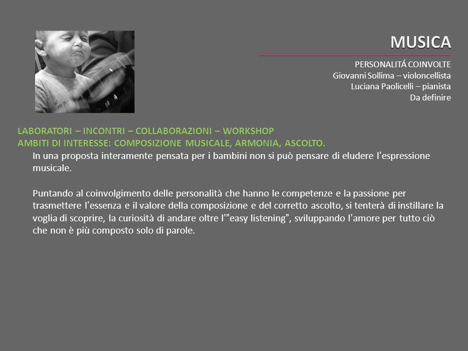 PERSONALITÁ COINVOLTE Giovanni Sollima – violoncellista Luciana Paolicelli – pianista Da definire LABORATORI – INCONTRI – COLLABORAZIONI – WORKSHOP AM