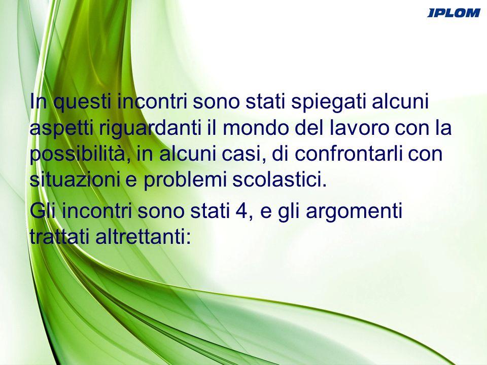 1- Sicurezza 2- Problem Solving 3- Ambiente e comunicazione 4- Dinamiche, aspetti tecnologici e psicologici del marketing