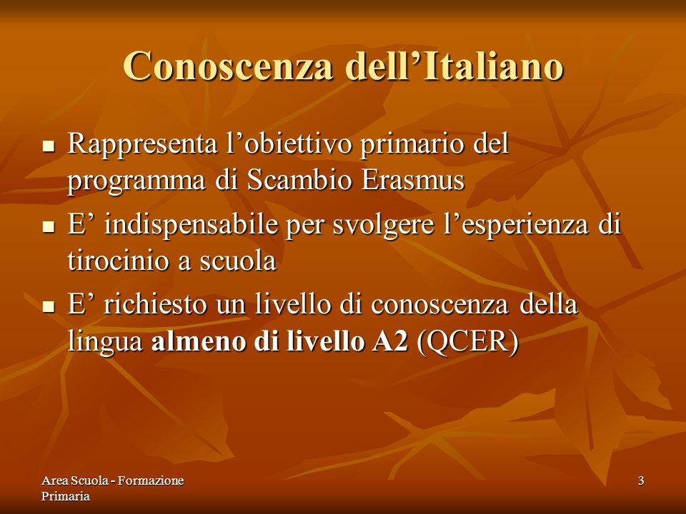 Area Scuola - Formazione Primaria 3 Conoscenza dellItaliano Rappresenta lobiettivo primario del programma di Scambio Erasmus Rappresenta lobiettivo pr