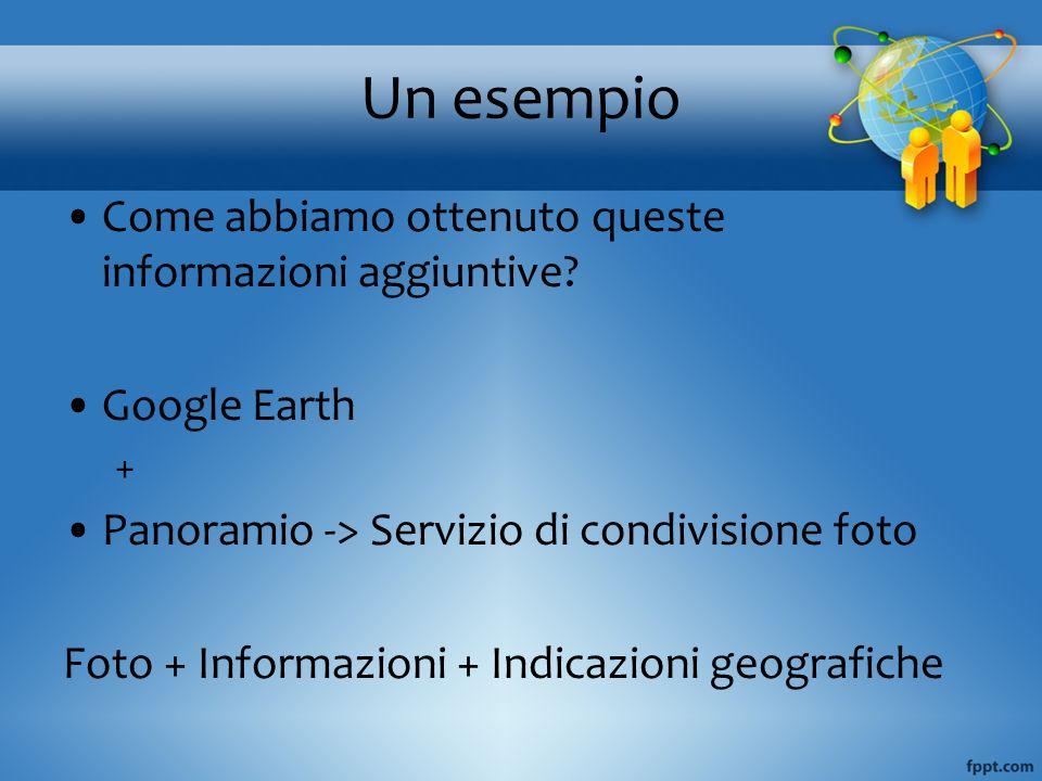 Un esempio Come abbiamo ottenuto queste informazioni aggiuntive? Google Earth + Panoramio -> Servizio di condivisione foto Foto + Informazioni + Indic