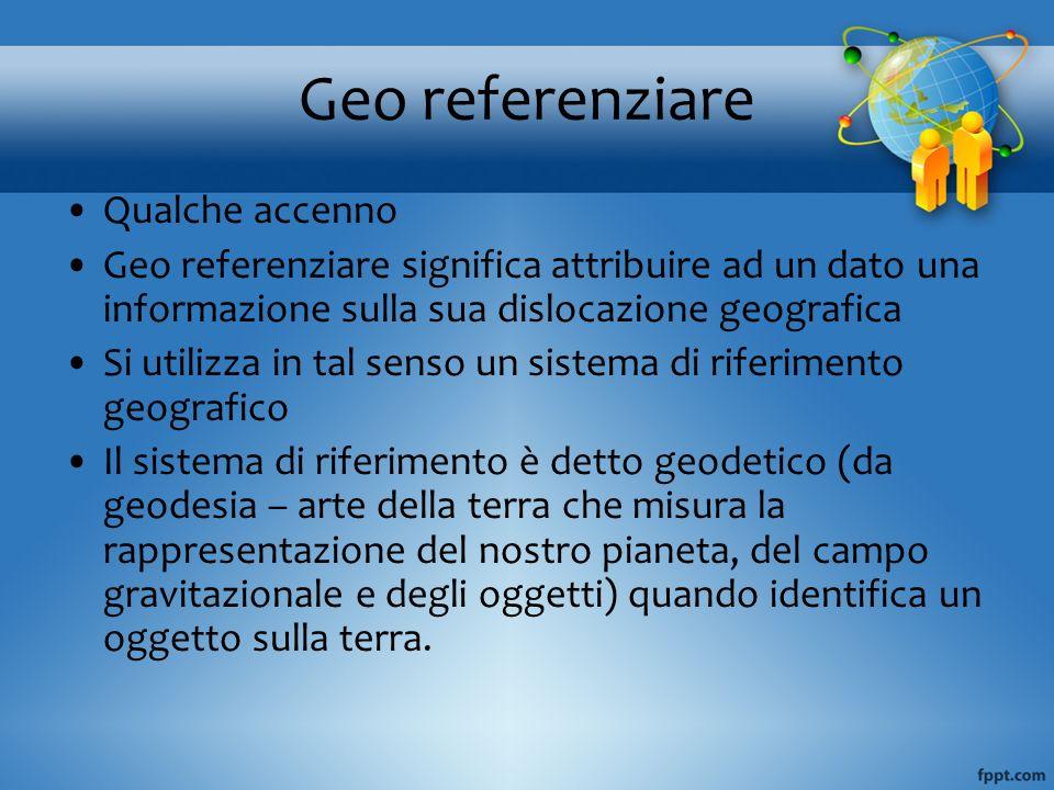 Geo referenziare Qualche accenno Geo referenziare significa attribuire ad un dato una informazione sulla sua dislocazione geografica Si utilizza in ta