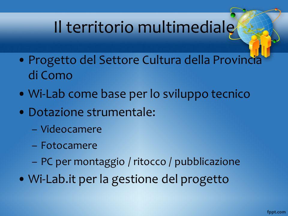 Progetto del Settore Cultura della Provincia di Como Wi-Lab come base per lo sviluppo tecnico Dotazione strumentale: –Videocamere –Fotocamere –PC per