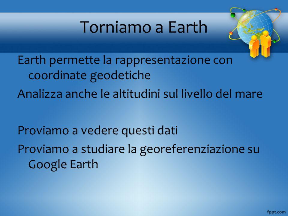 Torniamo a Earth Earth permette la rappresentazione con coordinate geodetiche Analizza anche le altitudini sul livello del mare Proviamo a vedere ques