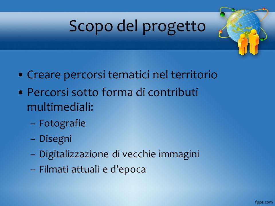 Scopo del progetto Creare percorsi tematici nel territorio Percorsi sotto forma di contributi multimediali: –Fotografie –Disegni –Digitalizzazione di