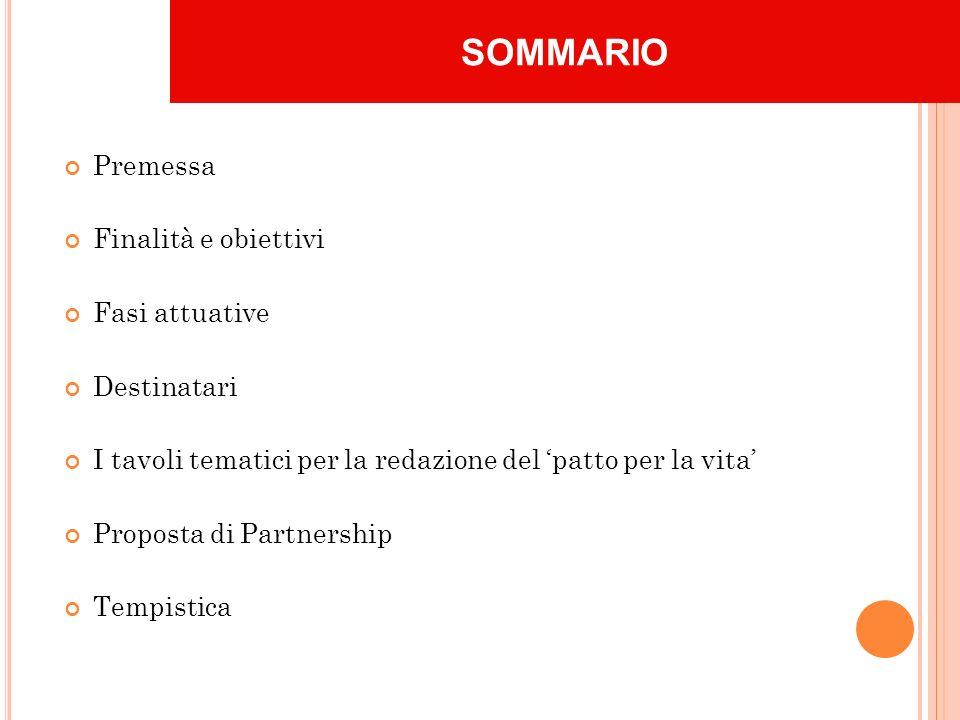 Premessa Finalità e obiettivi Fasi attuative Destinatari I tavoli tematici per la redazione del patto per la vita Proposta di Partnership Tempistica SOMMARIO
