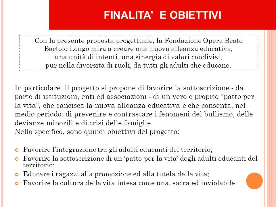 FINALITA E OBIETTIVI Con la presente proposta progettuale, la Fondazione Opera Beato Bartolo Longo mira a creare una nuova alleanza educativa, una unità di intenti, una sinergia di valori condivisi, pur nella diversità di ruoli, da tutti gli adulti che educano.