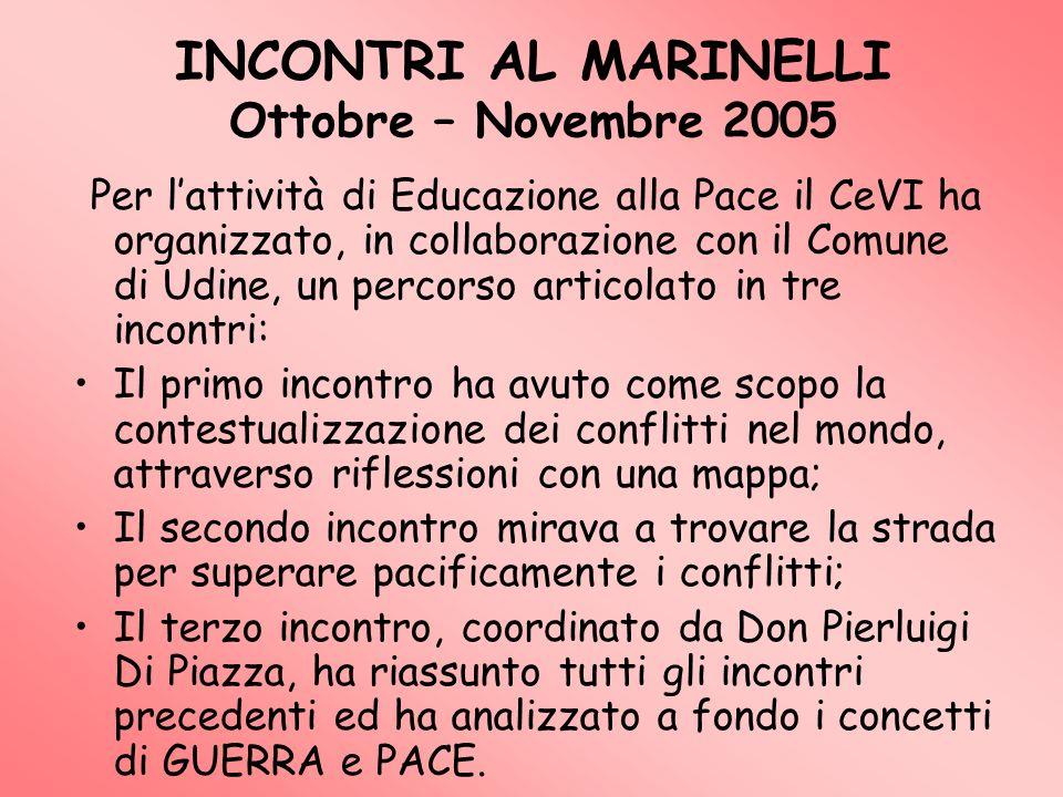 INCONTRI AL MARINELLI Ottobre – Novembre 2005 Per lattività di Educazione alla Pace il CeVI ha organizzato, in collaborazione con il Comune di Udine,